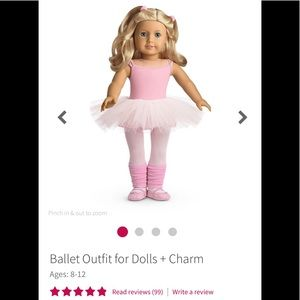 American Girl Ballet Outfit + Charm